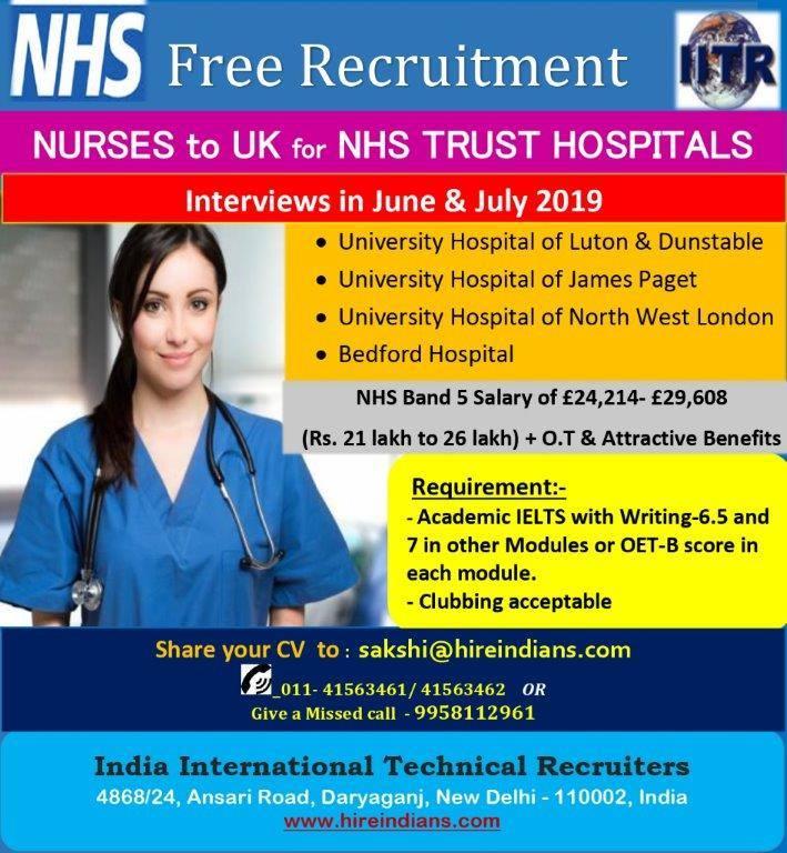 FREE Recruitment for Nurses for NHS Trust ( Govt ) Hospitals