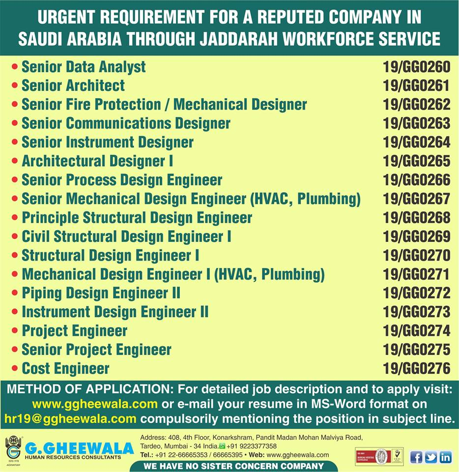 Urgent Requirement For A Reputed Company In Saudi Arabia