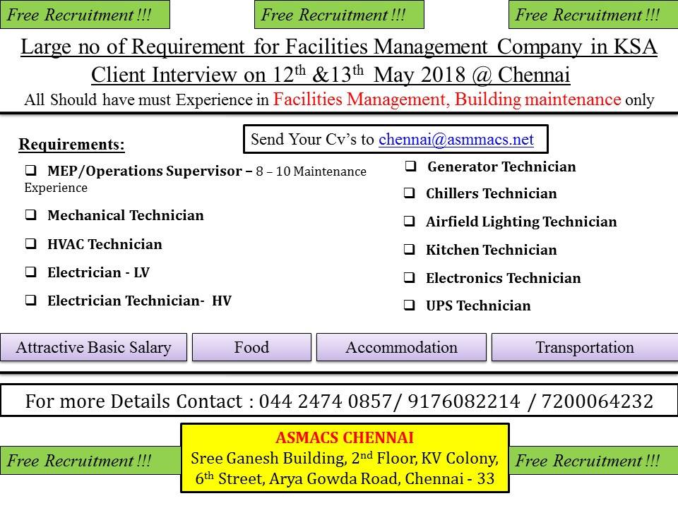 Free Recruitment for Facilities Management Company in Saudi