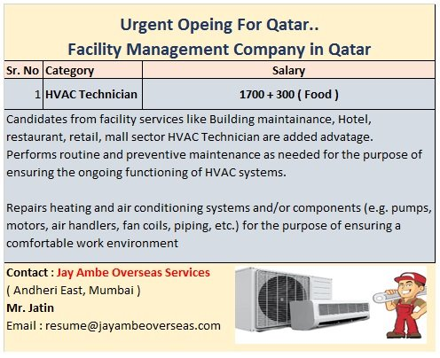 Urgent Opening For Qatar – HVAC Technicians for Facility