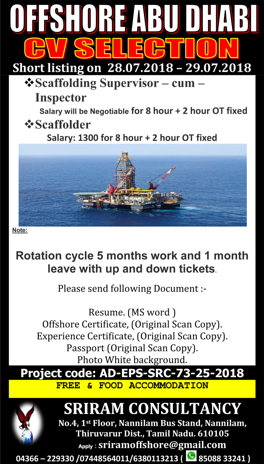 URGENT REQUIREMENT FOR LEADING COMPANY ABU DHABI OFFSHORE
