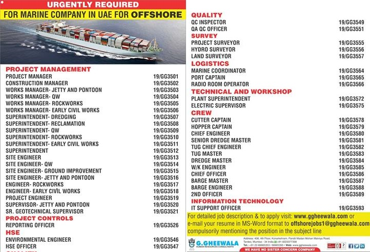 urgently required for marine company in uae for offshore