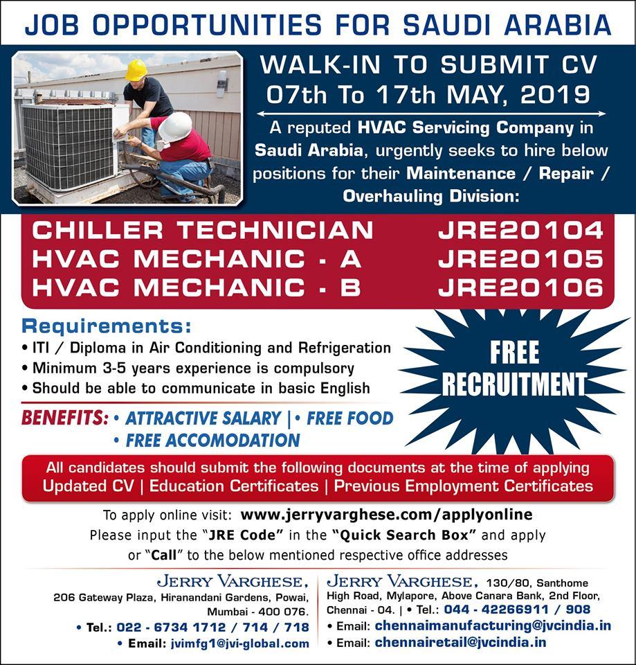 Free Recruitment Saudi Arabia For Reputed Hvac