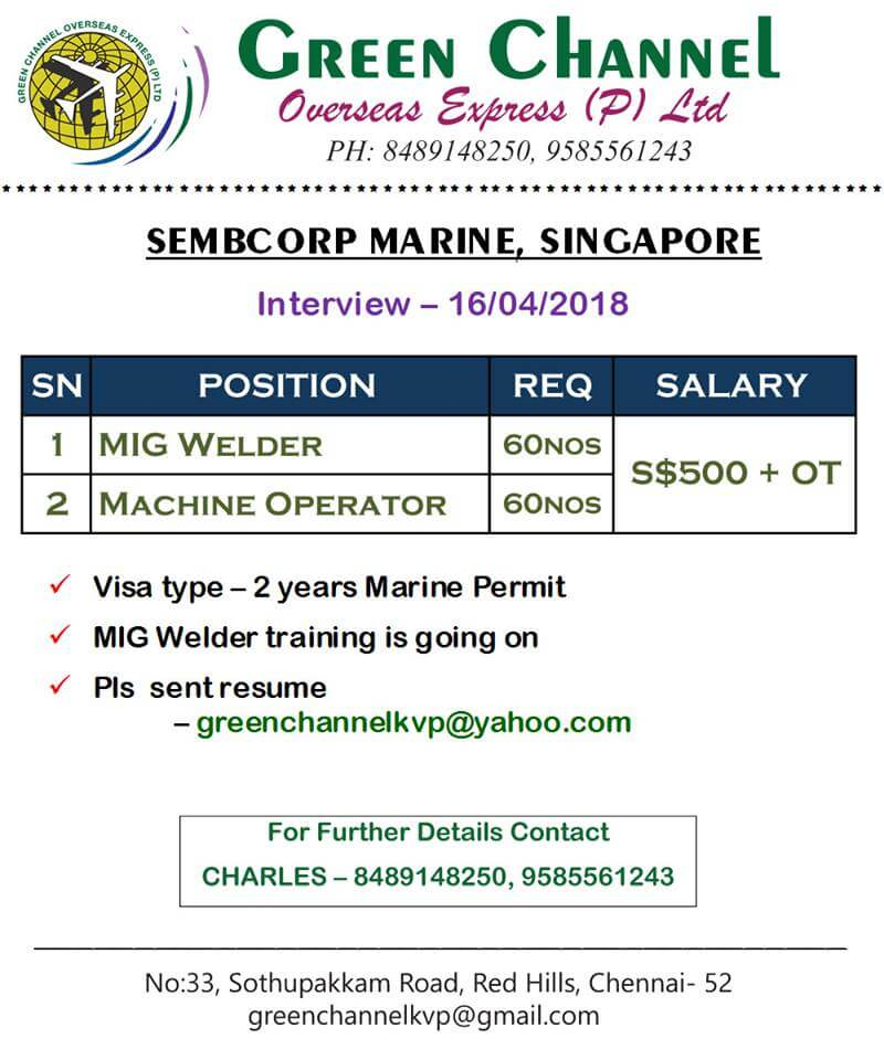 Requirements for Sembcorp Marine - Singapore