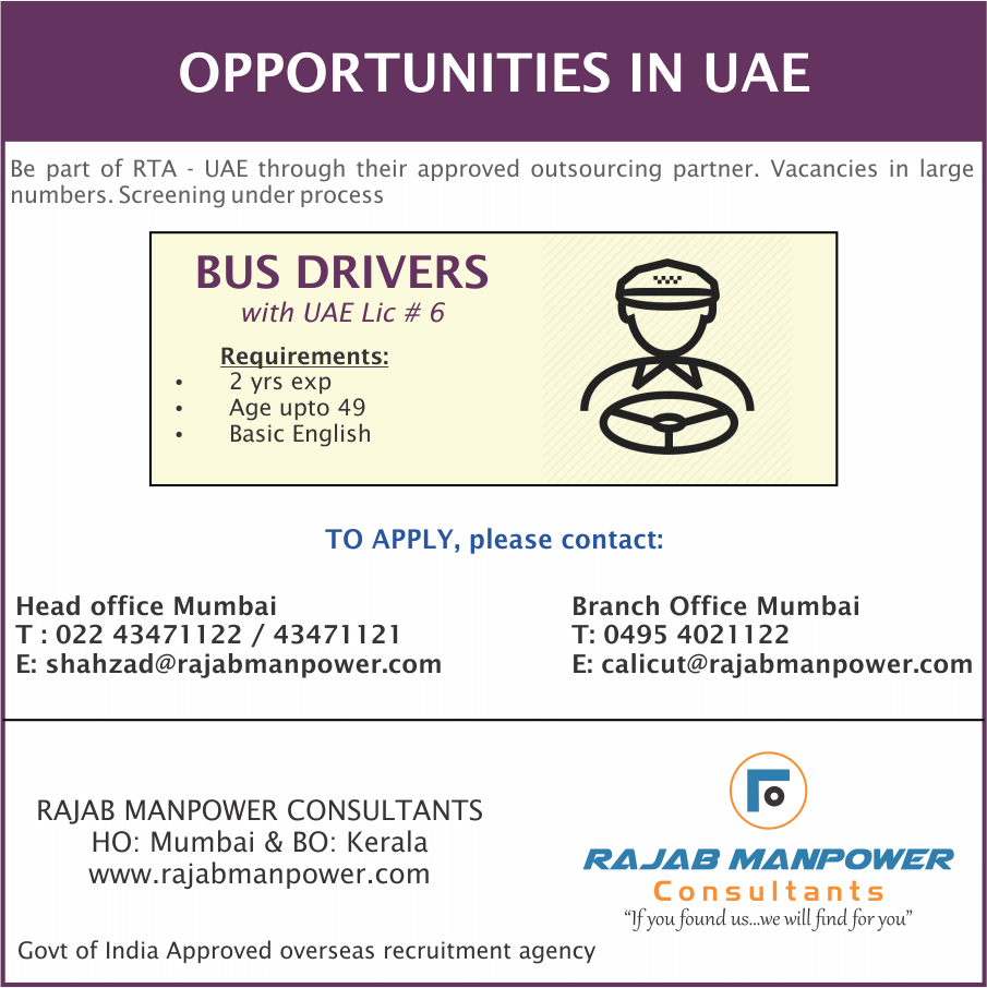 Bus Drivers (RTA)– Opportunities for UAE