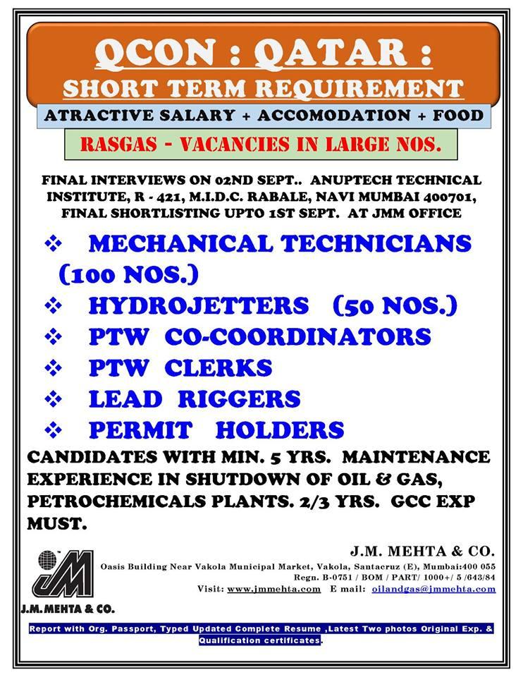 QCON Qatar - Short Term Requirement (RASGAS - Vacancies In