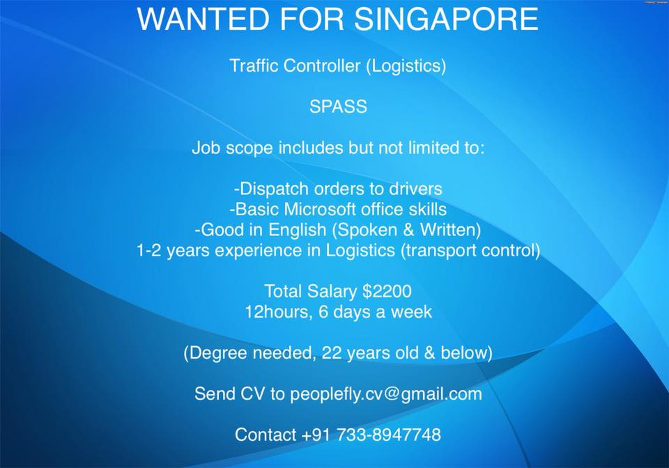 Traffic Controller (Logistics) for Singapore – S Pass