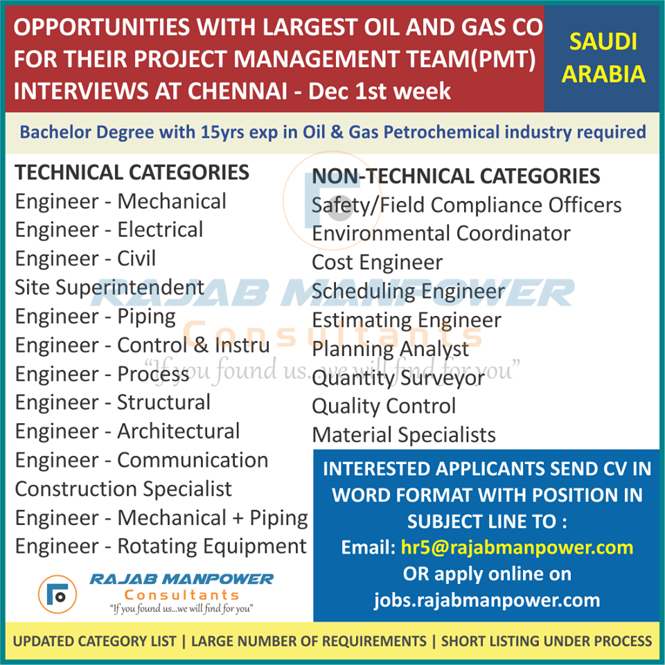 Engineers for largest Oil and Gas company in Saudi Arabia
