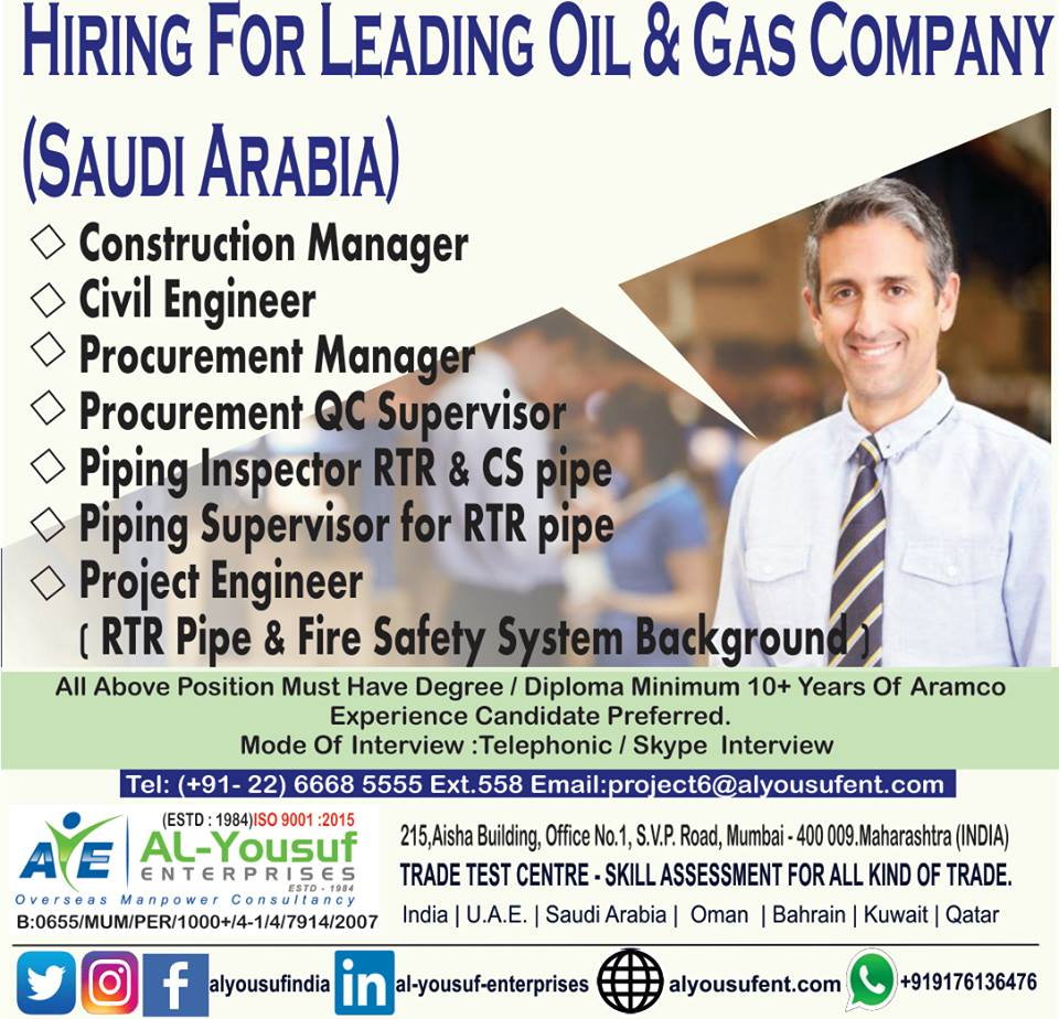Construction / Piping / Other Jobs – for Oil & Gas Company in Saudi