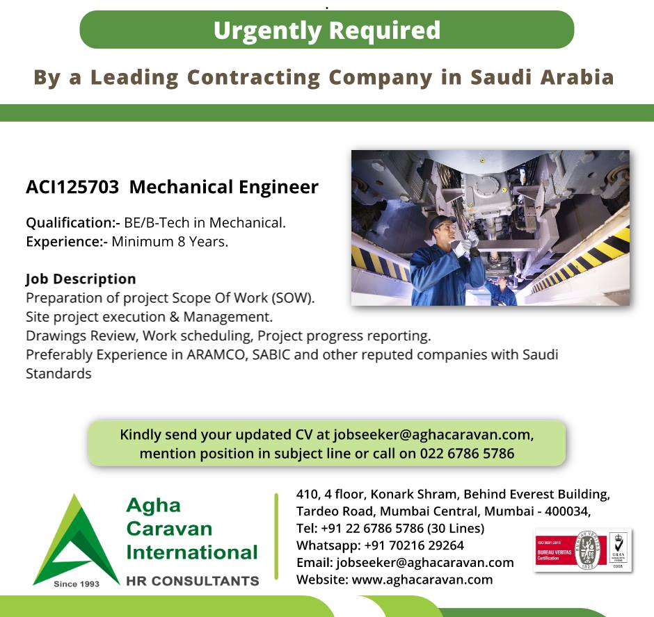Urgently Required Mechanical Engineer in Saudi Arabia for a