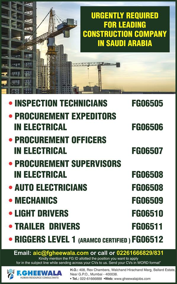 urgently required for leading construction company in saudi arabia