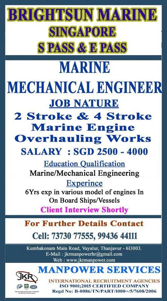 Marine Mechanical Engineers Required for Brightsun Marine