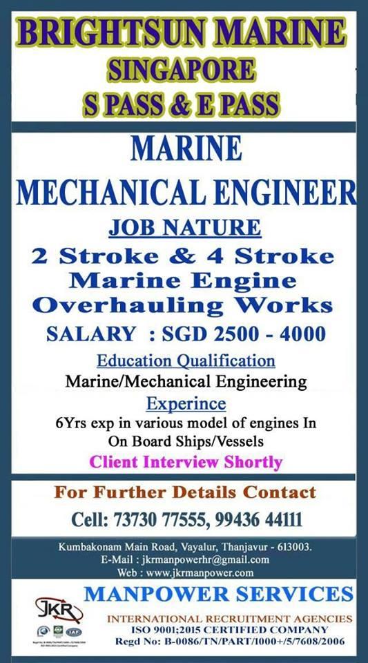 Marine Mechanical Engineers Required for Brightsun Marine Singapore