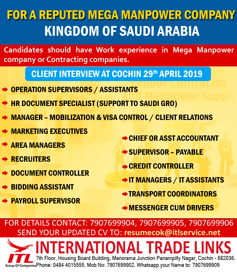 HIRING FOR A WELL REPUTED MANPOWER COMPANY, KSA