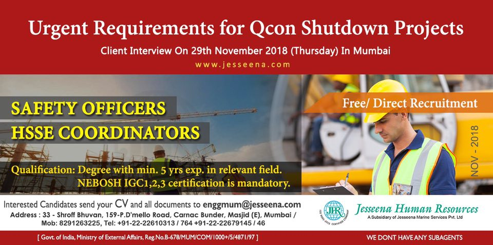 Vacancy for Safety officers/ Co-ordinators for Qcon Qatar