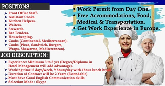 WORK IN EUROPE WITHOUT IELTS HOSPITALITY JOBS