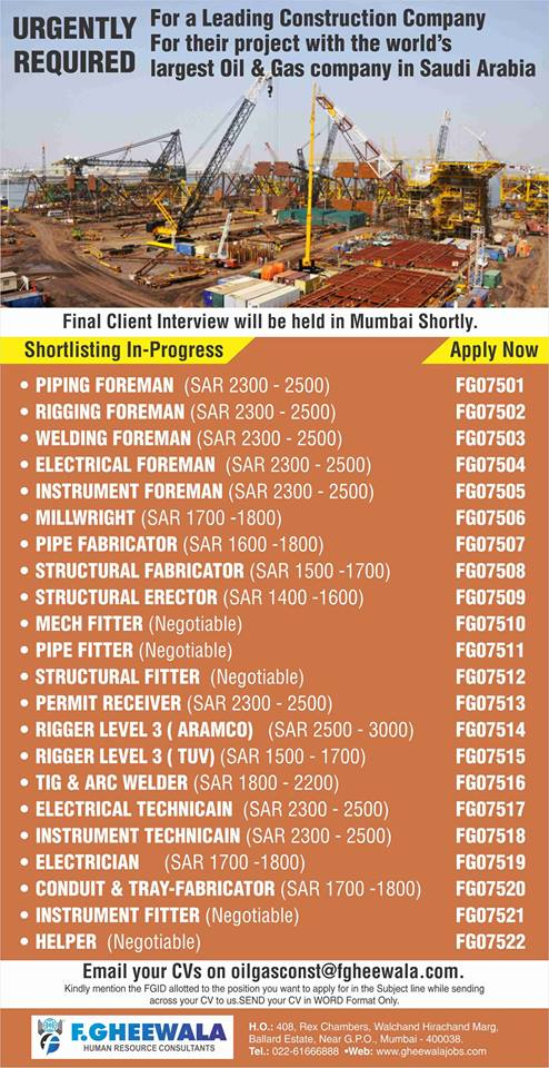 URGENTLY REQUIRED For a Leading Construction Company largest
