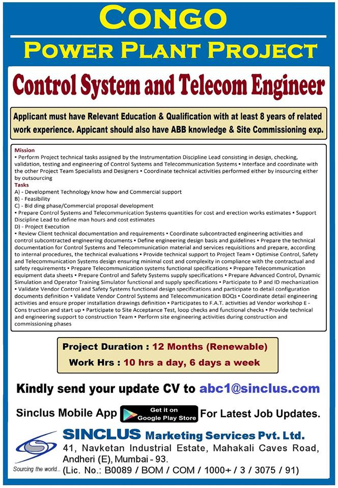 Hiring for Congo - Power Plant Project (Control System and