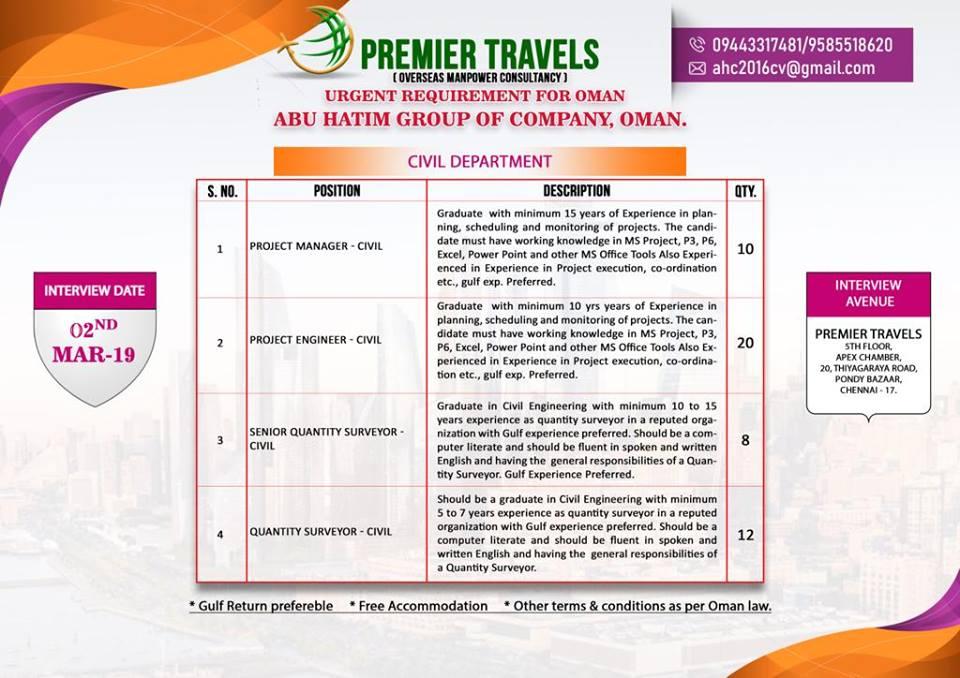 Urgent Requirement for Oman - Abu Hatim Group of Company- CIVIL