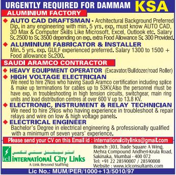 URGENTLY REQUIRED FOR DAMMAM KSA - ALUMINIUM FACTORY