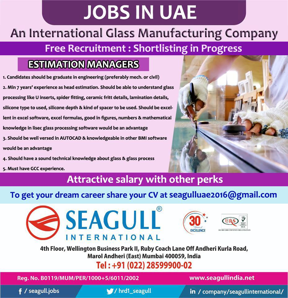 Free Recruitment for International Glass Manufacturing