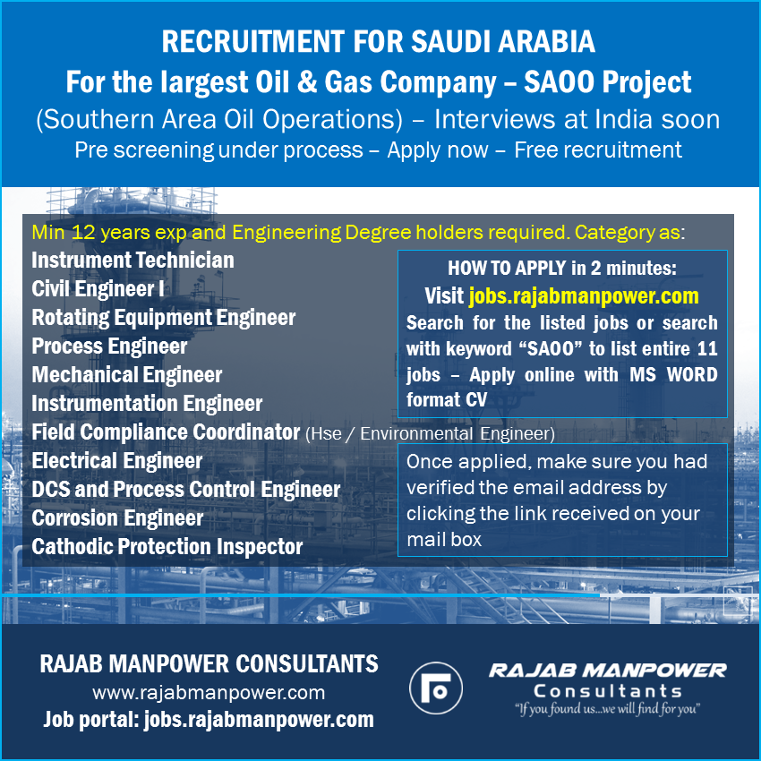 Free Recruitment - For largest Oil and Gas Company, for