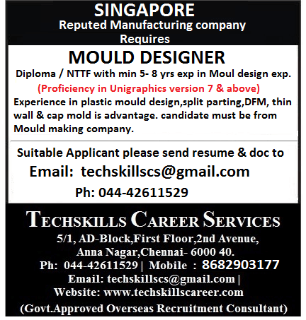 Required for Singapore - MOULD DESIGNER (S PASS)