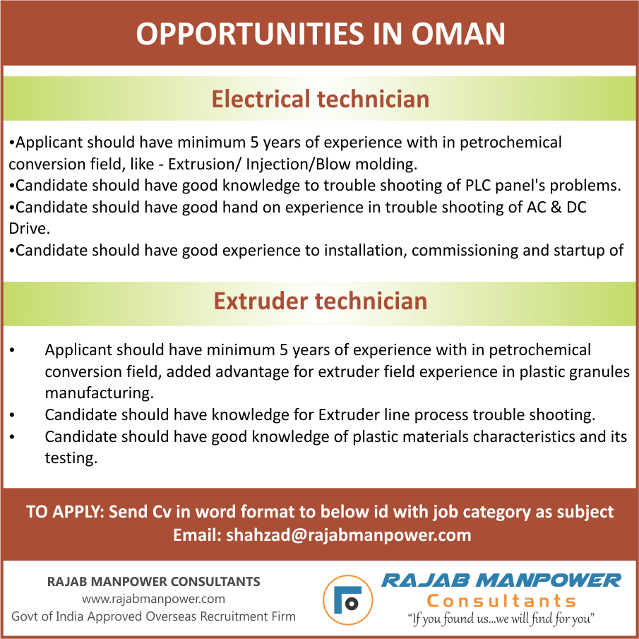 Technicians required for Opportunities in Oman