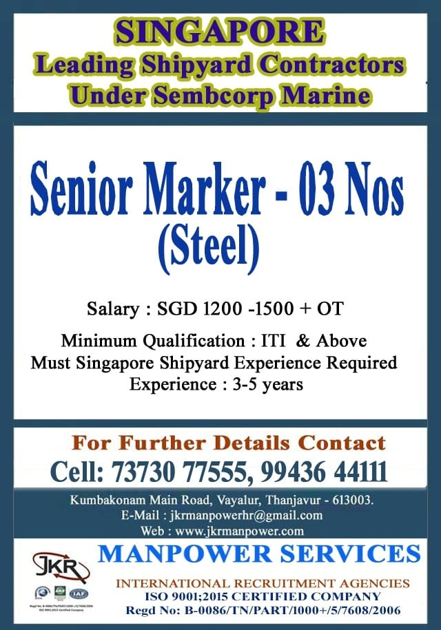 Requirement for Singapore - Leading Shipyard Contractors