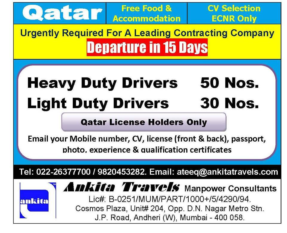 Drivers Urgently Required For Leading Contracting Company in