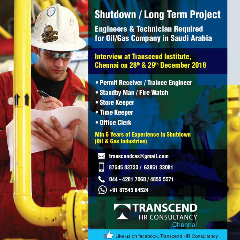 Engineers & Technician Required for Oil/Gas Company in Saudi