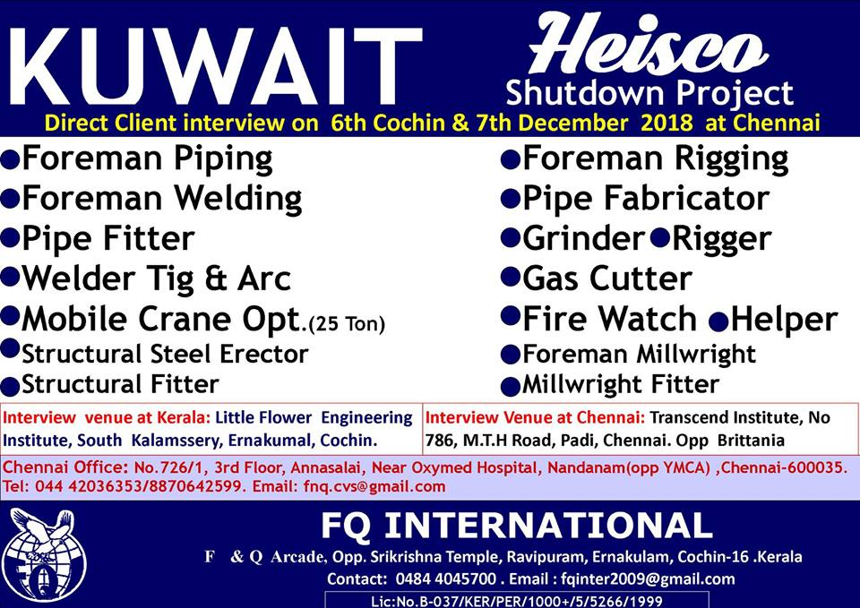 Wanted for HEISCO Shutdown Project – Jobs in Kuwait