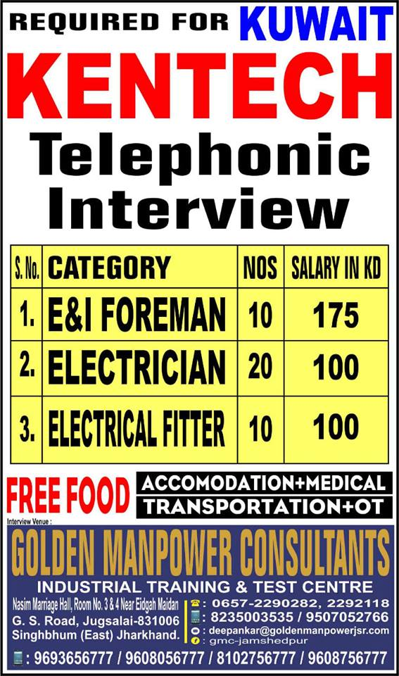 Required For - KENTECH (Telephonic Interview) Kuwait