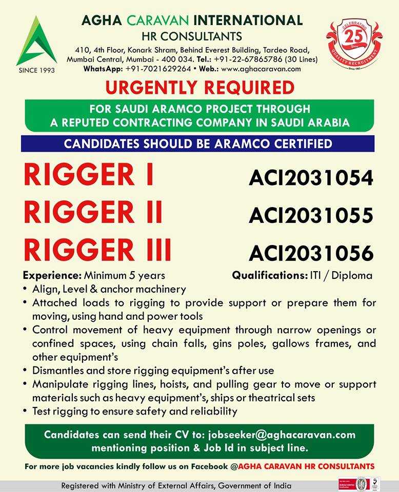 Urgently Required Riggers for Saudi Aramco project through