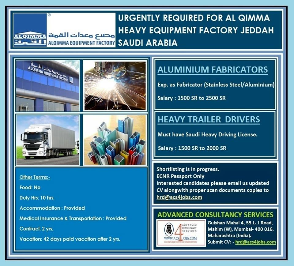 URGENTLY REQUIRED FOR AL QIMMA HEAVY EQUIPMENT FACTORY