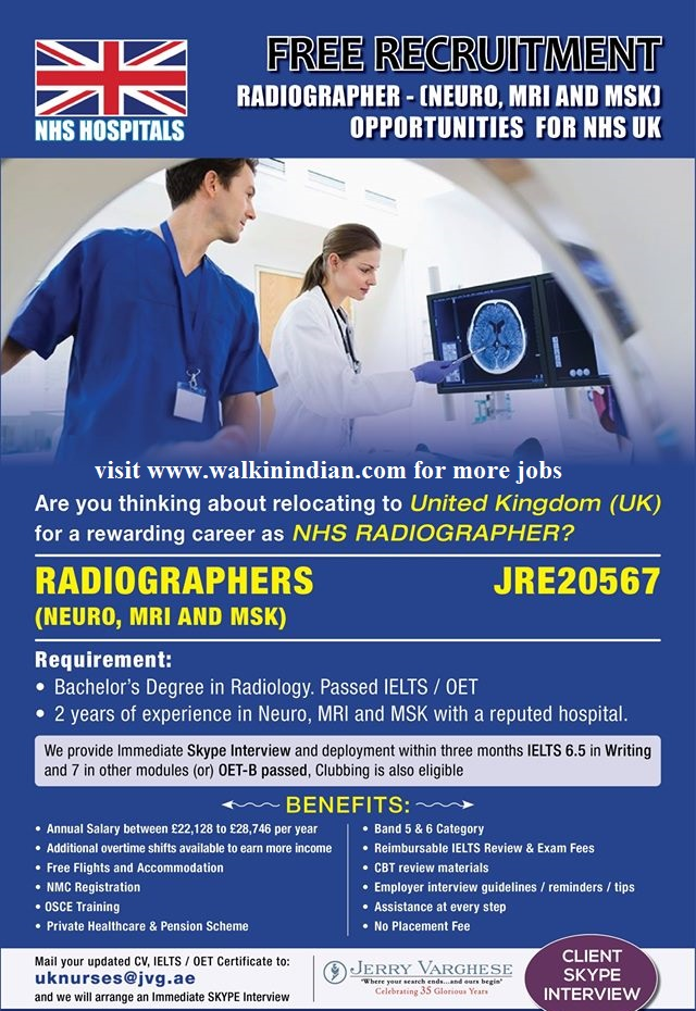 Free Recruitment-Radiographer Opportunities for Nurses (Male
