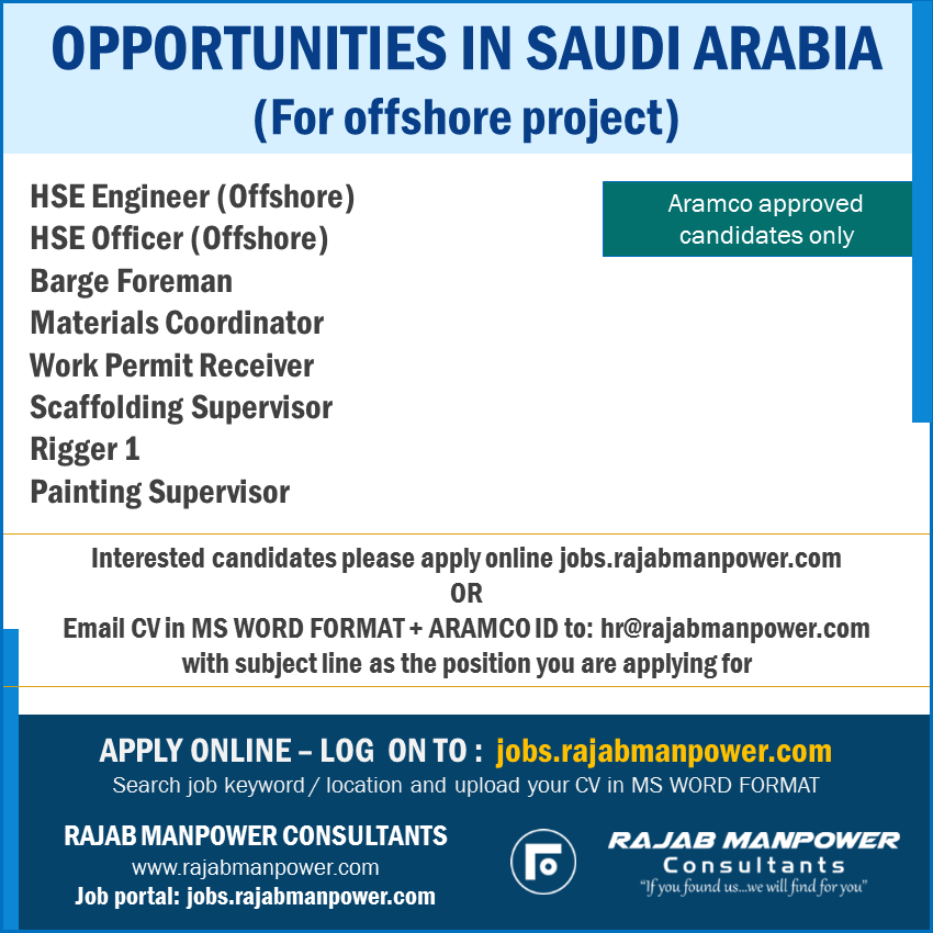 OPPORTUNITIES IN SAUDI ARABIA (For offshore project)