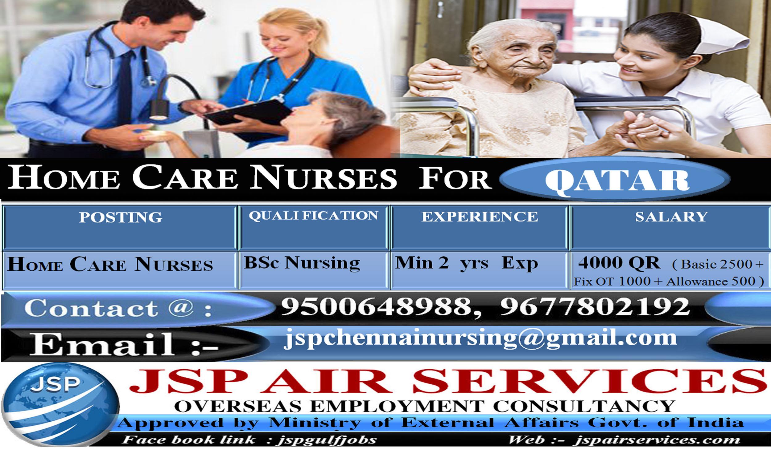 URGENT REQUIREMENT NURSES FOR QATAR - HOME CARE NURSES