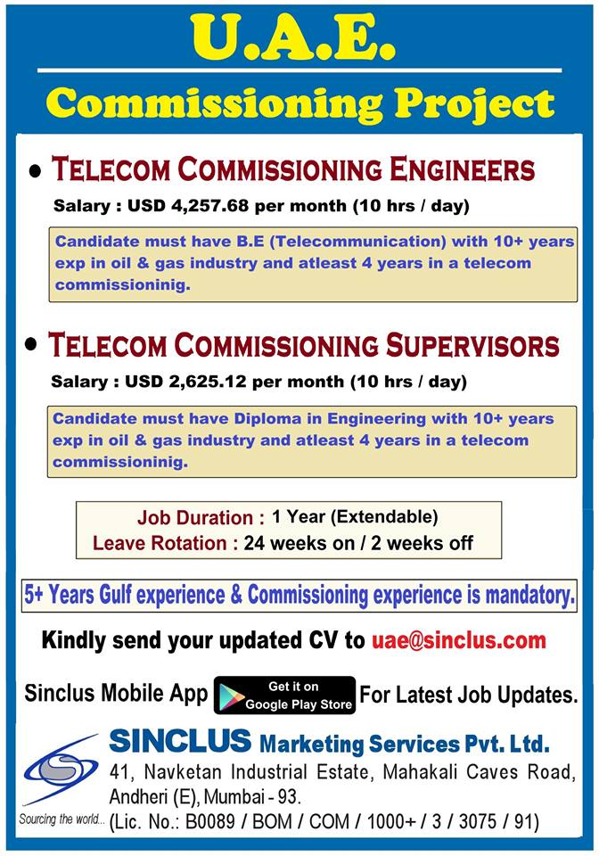 Requirement for Telecom Commissioning Project in UAE