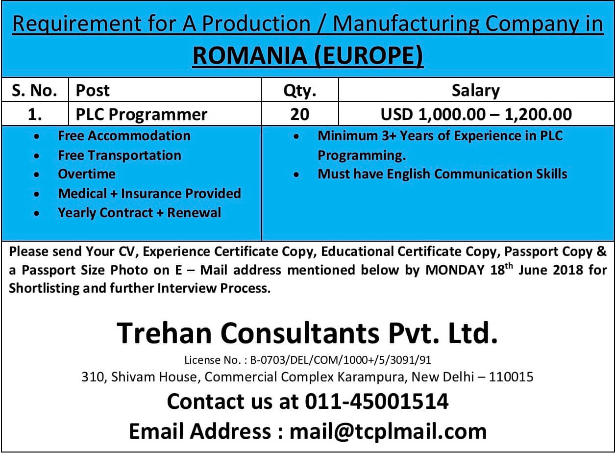 PLC Programmer - Requirement for A Production / Manufacturing