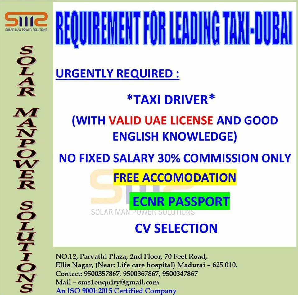 TAXI DRIVER URGENTLY REQUIRED DUBAI