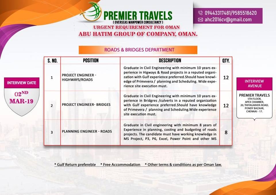 URGENT REQUIREMENT FOR OMAN -ABU HATIM GROUP OF COMPANY