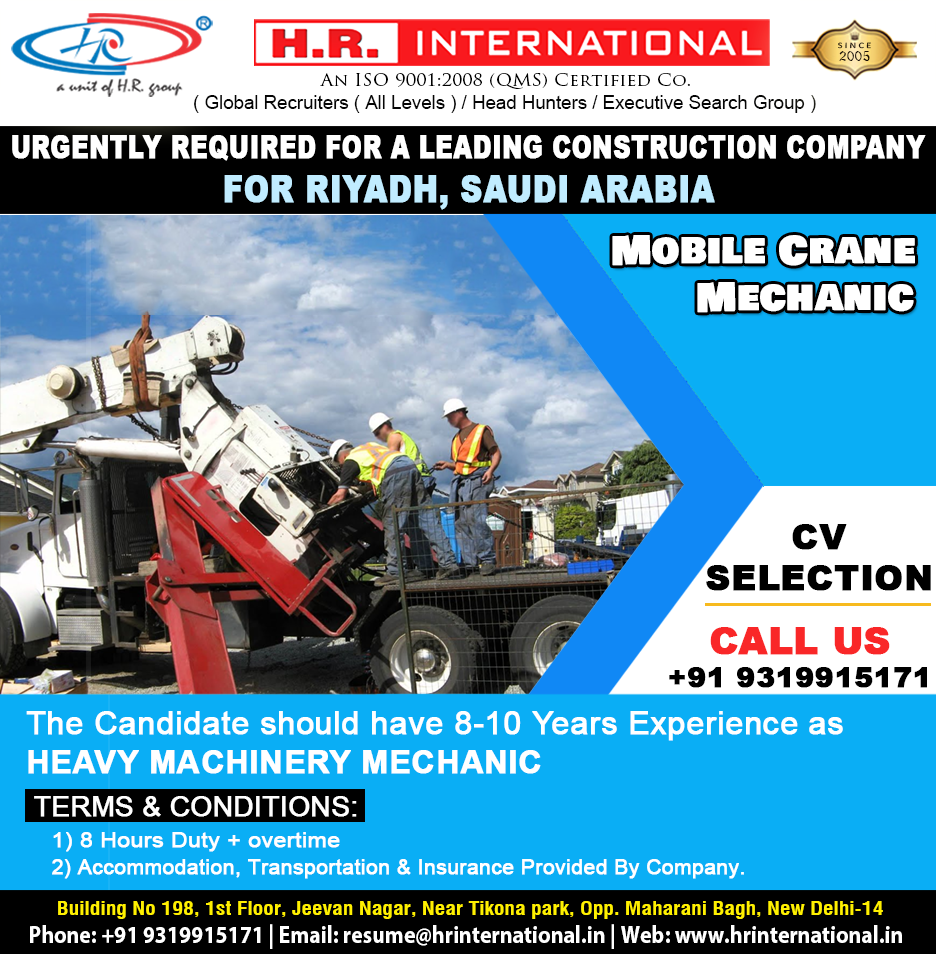 Urgently Required For a Leading Construction Company For