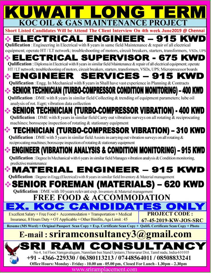 REQUIREMENT FOR KOC OIL & GAS MAINTENANCE PROJECT IN KUWAIT