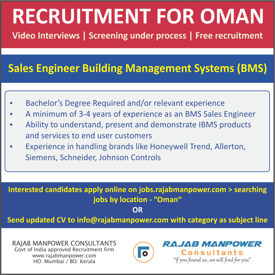 Free Recruitment for SALES ENGINEER FOR BUILDING MANAGEMENT