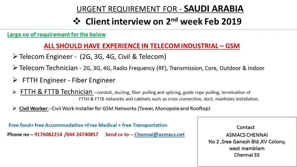 Large Number of Requirements for Telecom Industry (GSM) in