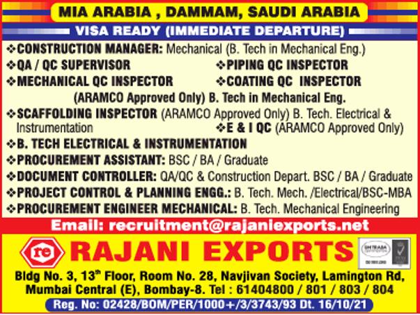 Hiring for MIA Arabia – Dammam, Saudi Arabia