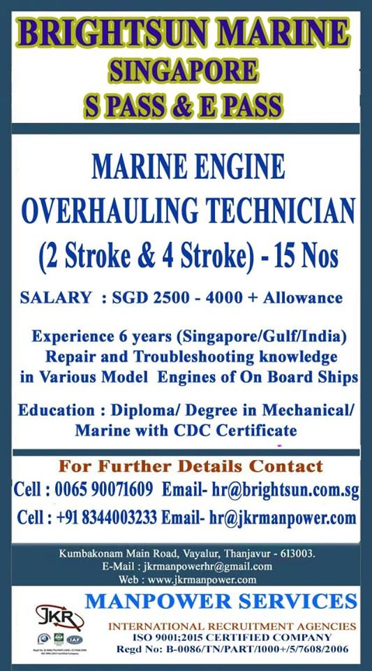 Marine Engine Overhauling Technicians for Brightsun Marine in Singapore