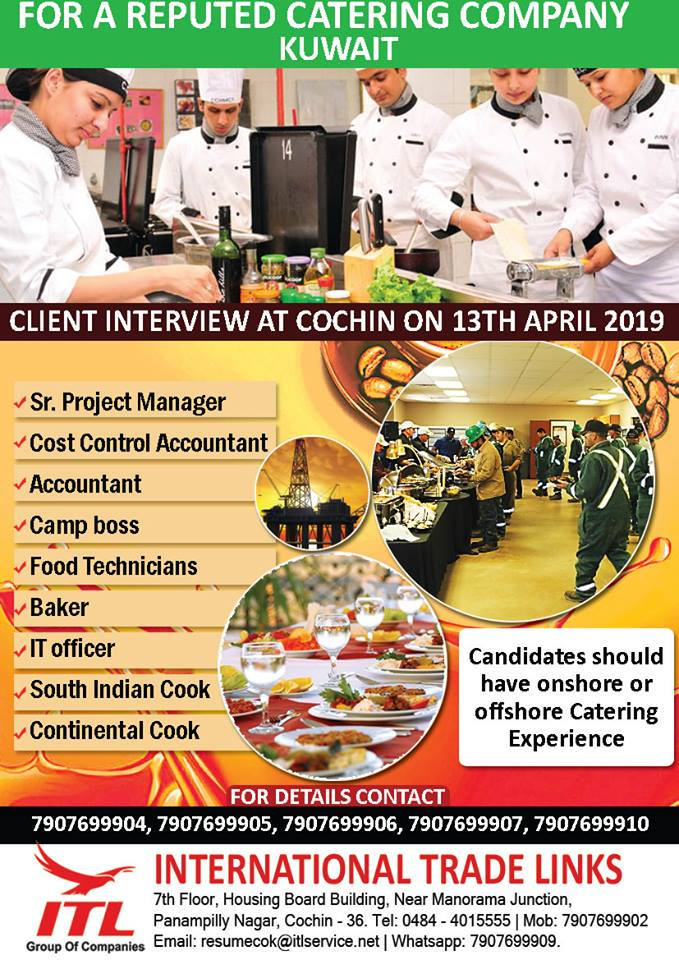 HIRING FOR M/S RELIANCE CATERING, KUWAIT