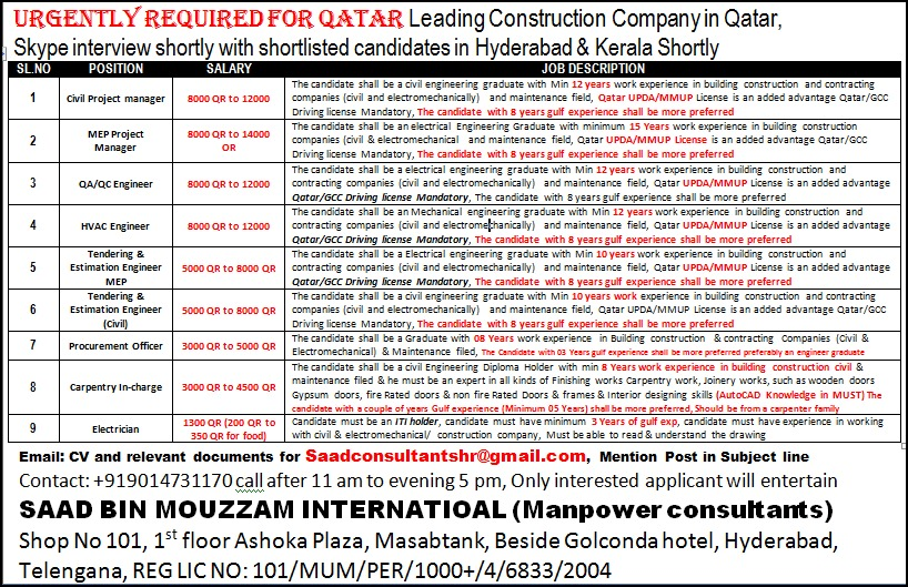 URGENTLY REQUIRED FOR QATAR - LEADING CONSTRUCTION COMPANY